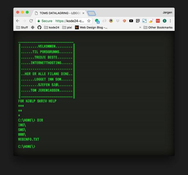 Slik skal kodekonkurransen se ut når vi har stylet den ferdig. Foto: Jørgen Jacobsen