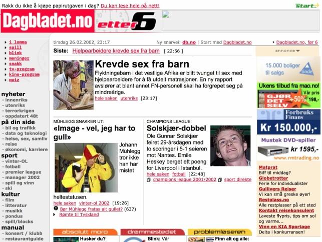 Bilde av Dagbladet 26. februar 2002. Da høyre og venstremenyer fortsatt var aktive. Fotomontasje: The Internet Archive / Jørgen Jacobsen.