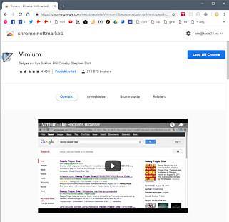 Vimium lar deg navigere nettet med tastaturet.