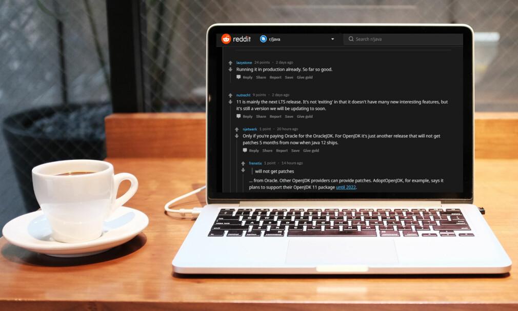 Så langt så bra, forteller en bruker på Reddit når vi spør om de bruker Java 11. 📸-montasje: Alex Knight / Unsplash / Jørgen Jacobsen