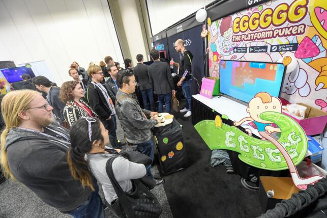 For mange vil det å vise fram spill under GDC-messa være selve drømmen, slik Hyper Games kunne gjøre med Eggggg i fjor. 📸: GDC