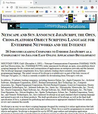 Netscape annonserer Javascript i 1995. 📸: Wayback Machine