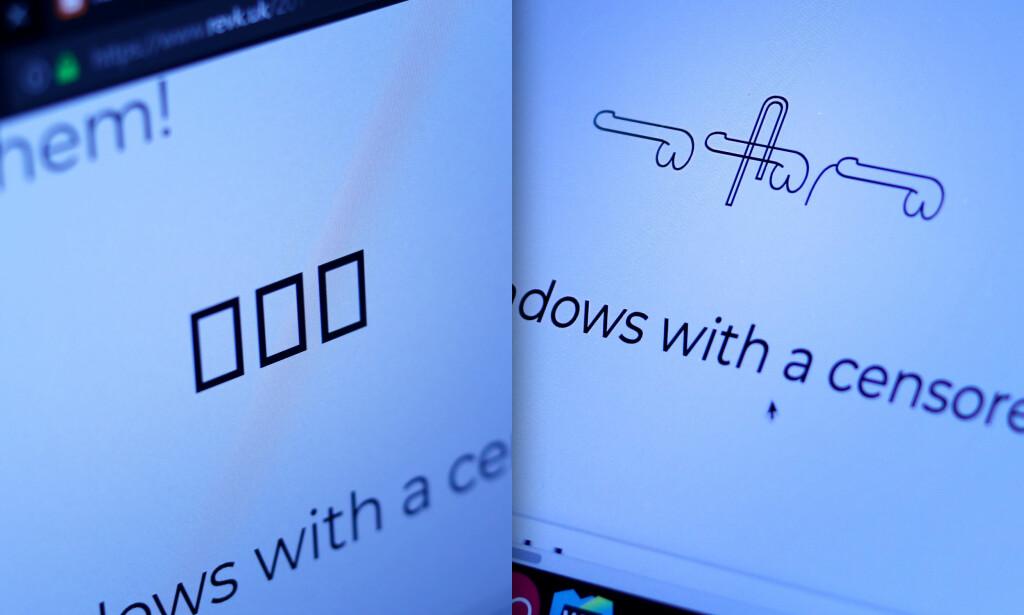 Til venstre er unicode-hieroglyphene i Chrome på Windows. Til høyre ser vi de samme tegnene i Safari på Mac Os. 📸: Ole Petter Baugerød Stokke