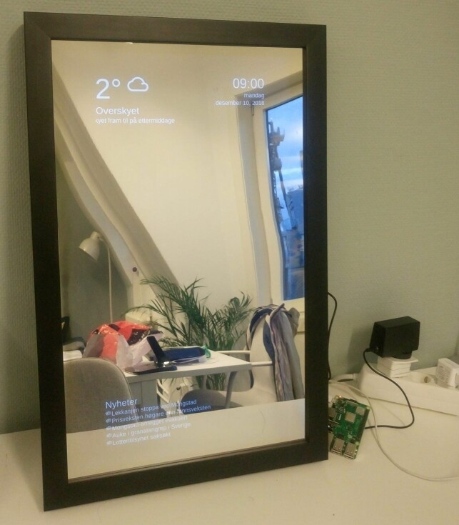 Slik ser smartspeilet ut når det er ferdig. 📸: HackTechGo!