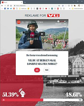 Maximilian Øystå Lloyd har blant annet laget denne Berxit-sida for VG, hvor man kunne stemme ja eller nei til frigjøringen av Bergen.
