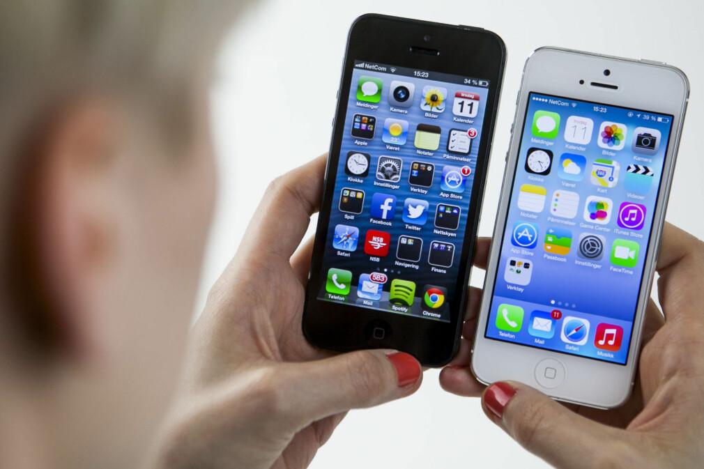 I 2012 var det designfilosofien skeuomorfisme som gjaldt. Apples iPhone slutta med dette da iOS 7, til høyre, kom ut i 2013. 📸: Per Ervland