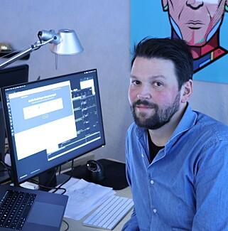Designansvarlig Fredrik Tveit har designet nettsider siden 90-tallet. 📸: Jørgen Jacobsen