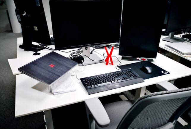 Slik ser pulten til utvikleren Karl Henrik Skaug i Knowit ut. 📸: Privat