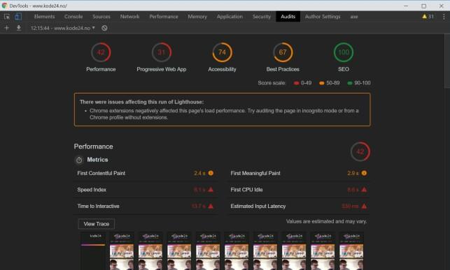 Ta en revisjon av siden din, med det innebygde revisjonsverktøyet i Chrome DevTools. Her fra revisjonen av forsiden til kode24.no. 📸: Jørgen Jacobsen