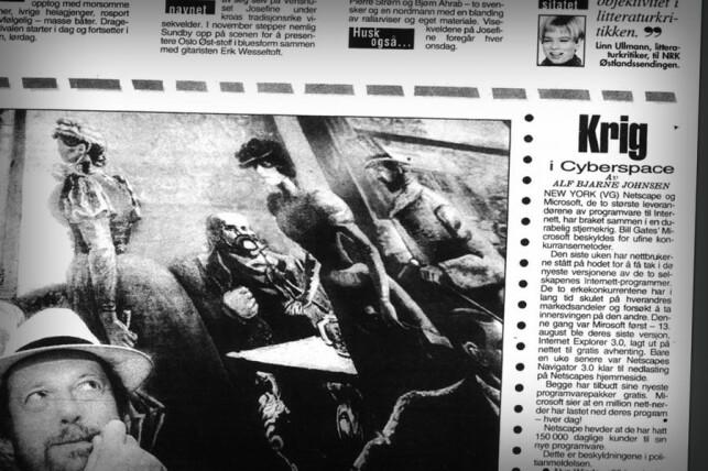 Denne notisen i VG er det første sporet av nettleser-krigen vi finner i norske papiraviser. 📸: VG/Retriever