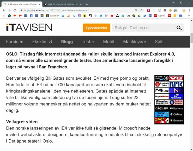 ITavisen dekket nettleser-krigen tett, og var blant annet på den skuffende lanseringsfesten til Internet Explorer 4 i 1997. 📸: itavisen.no