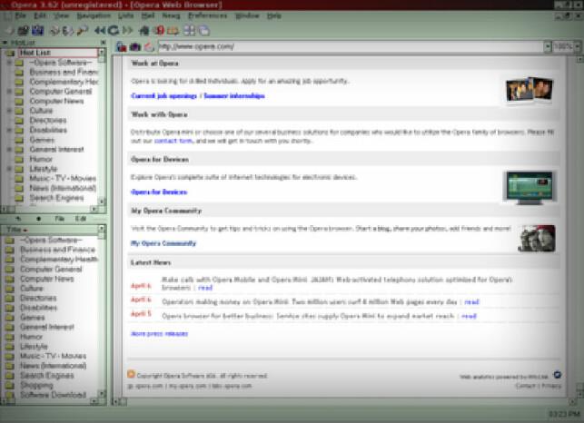 Dette er det eldste skjermbildet vi finner av Opera, her fra versjon 3.62. Oppløsningen kan vi dessverre ikke ta ansvaret for. Skyld på 90-tallet. 📸: Wikipedia