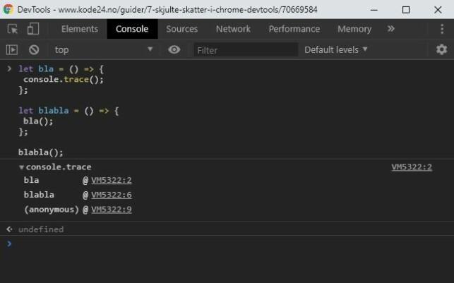 Du kan enkelt spore hva som kaller på en funksjon med console.trace(). 📸: Jørgen Jacobsen