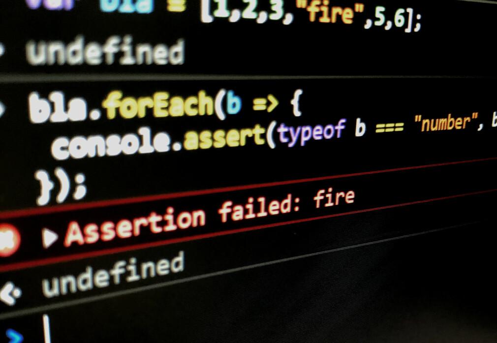 console.assert er bare ett av triksene som gjør debugging enklere i nettleser-konsollen. 📸: Jørgen Jacobsen