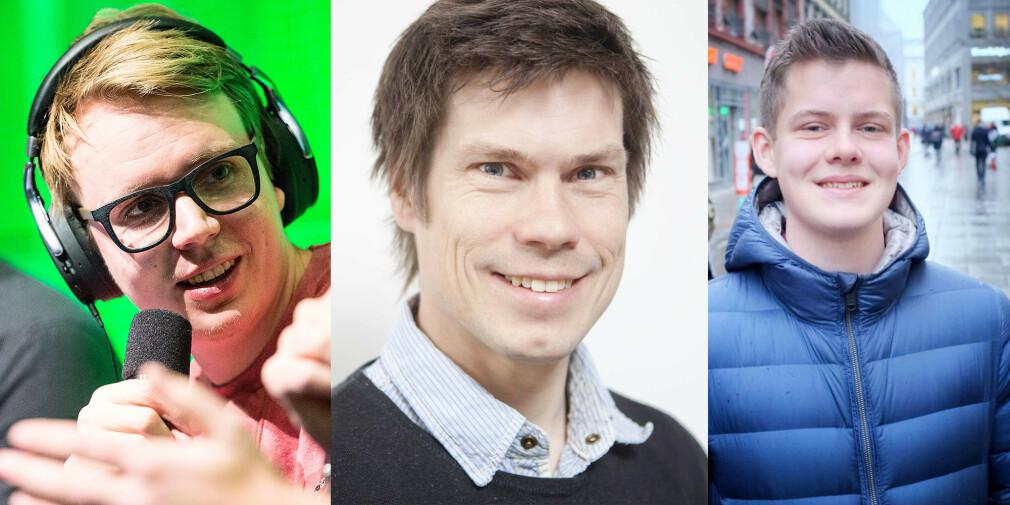 Utviklerne Mikael Brevik og Kristian Selnæs tror ikke frontendutviklere trenger å kunne alt om CSS og HTML. Maximilian Øystå Lloyd påpeker at JavaScript er mer gøy enn CSS og HTML fordi det er større utfordringer. 📸: Wil Lee-Wright, Kristian Selnæs, Ole Petter Baugerød Stokke