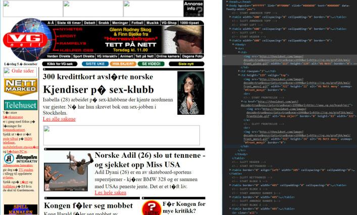 I 1998 var VG.no pakket inn i gigantiske tabeller. 📸: Jørgen Jacobsen / Theoldnet.com