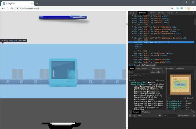 Boksene på dette samlebåndet beveger seg fra venstre til høyre, forbi en skanner som viser hva som er inni. Alt er laget med CSS, i ett eneste HTML-element, av Lynn Fischer på a.singlediv.com.