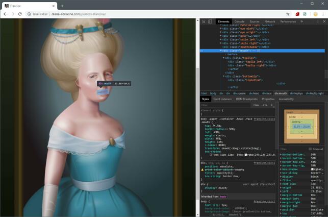 """""""Pure CSS Francine"""" er et av de beste eksemplene på hva CSS-kunst kan være. Alt du ser er HTML-elementer, stilet med blant annet heftig bruk av skygger."""