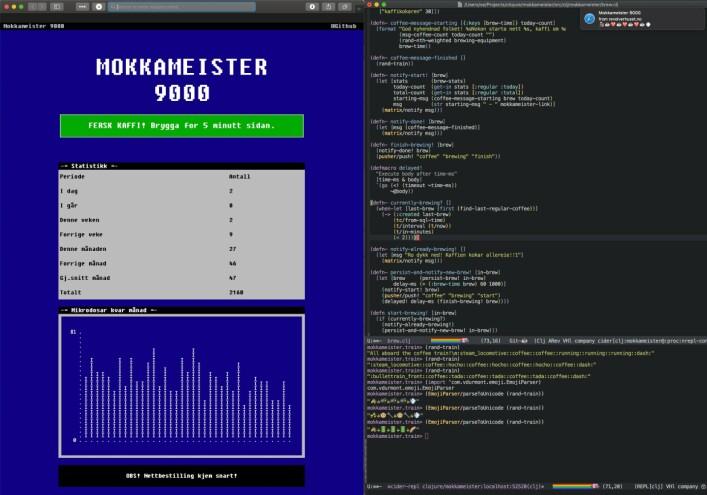 Slik ser det ut når Stian Eikeland koder Mokkameister 9000 i Clojure. 📸: Privat