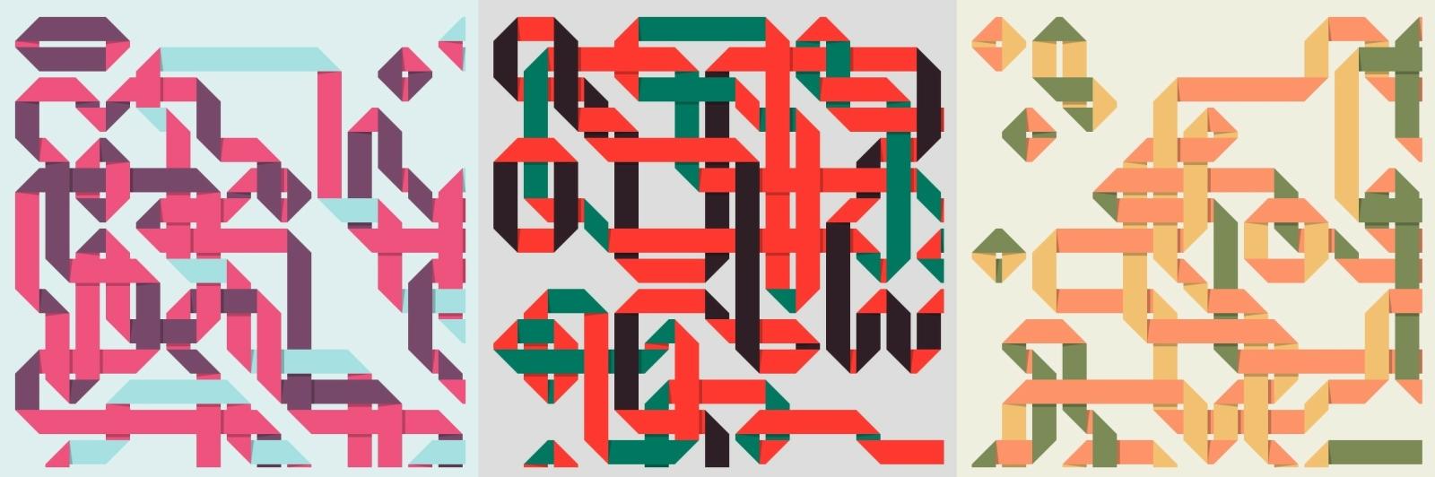"""""""Ribbon Lattice"""", i ulike utgaver etter å ha lasta koden flere ganger. Alle kunstverkene har en grad av tilfeldighet i seg, så to stykker aldri blir like. 📸: Kjetil M. Golid"""