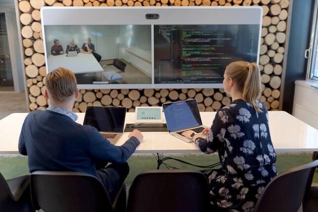 Slik ser det ut på kontorene til Phrida Norrhall i Cisco, på Lysaker utenfor Oslo. 📸: Privat