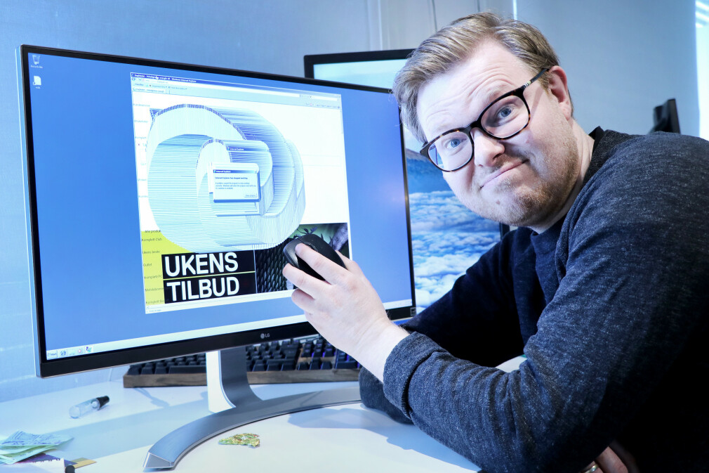 """Det ble litt for mye for Internet Explorer 8 da vi ba den surfe til """"Hele Norges nettbutikk""""; Komplett.no. 📸: Ole Petter Baugerød Stokke"""