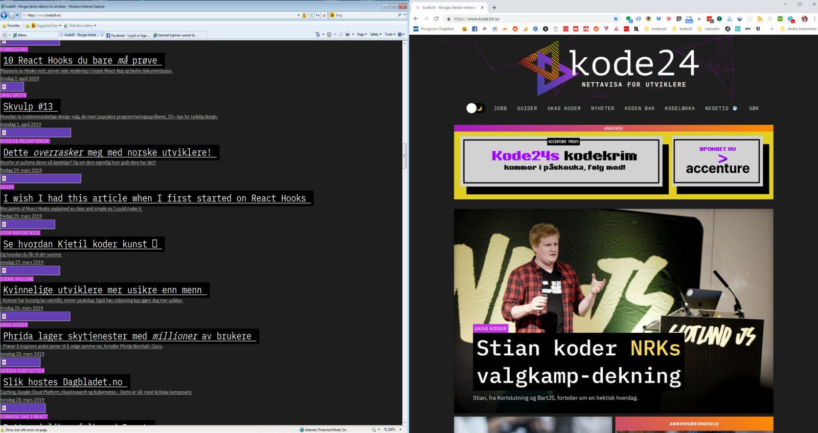 kode24.no i Internet Explorer 8 til venstre. Vi stiler mot HTML5-tagger, slik som <article>, noe CSS-parseren til Internet Explorer 8 ignorerer. 📸: Jørgen Jacobsen