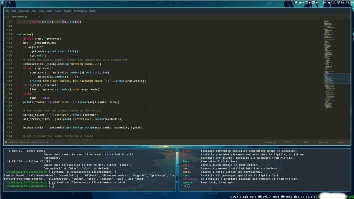 """- Jeg er forelska i i3 og bruker det daglig. Jeg er sikkert helt noob for veldig mange, men jeg liker å bruke Sublime Text 3 til sjølve kodinga, og Gitkraken til versjonering på Github. Terminal er en must. Oppe til høyre ser man ikonene for Reddit og Github-varslingene som jeg har laget til py3status som er """"statusbar"""" til i3, forteller Geir. 📸: Privat"""