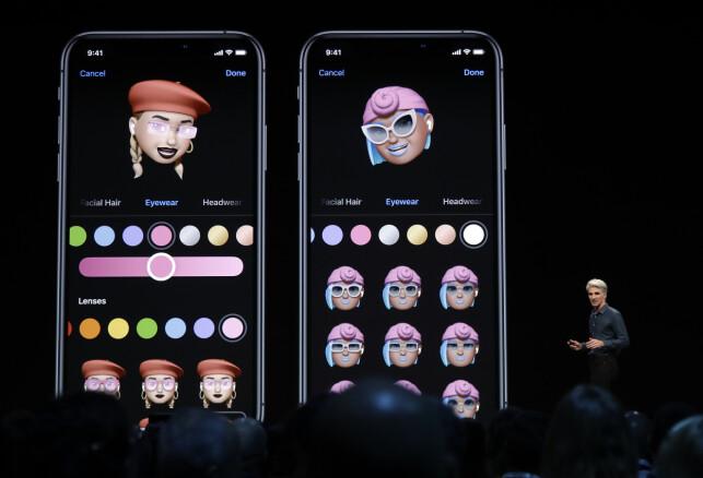 Her ser du mørk modus i iOS 13 i aksjon. Og muligheten til å sminke avataren din, om det skulle være interessant. 📸: Jeff Chiu / AP / NTB Scanpix