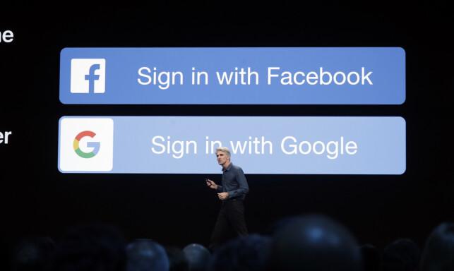 Sign In with Apple, eller hva de skal kalle det på norsk, skal være et alternativ til andre innloggingstjenester som Facebook og Google. 📸: Jeff Chiu / AP / NTB Scanpix