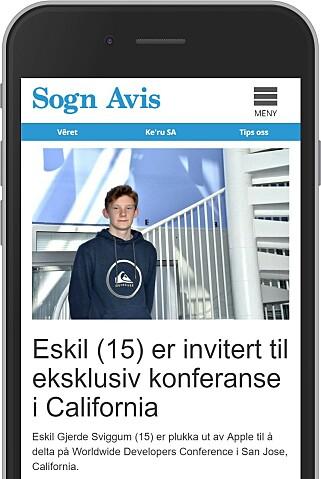 Foreløpig finner vi bare én artikkel om Eskil Gjerde Sviggums tur til Apple-konferansen, i lokalavisa Sogn Avis.