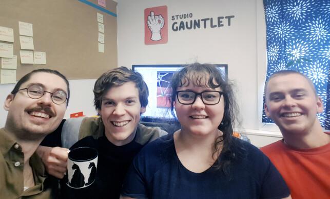 Studio Gauntlet i Trondheim består nå av Christer Rebni, Alexander Jonassen, Lise H. Lie og Philip Dahlstrøm. 📸: Studio Gauntlet