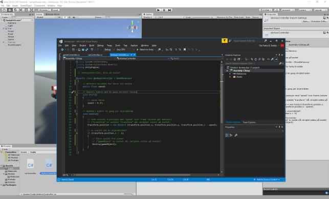 Visual Studio Community følger med Unity, men du kan også bruke andre editorer. 📸: Ole Petter Baugerød Stokke