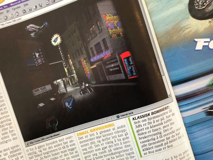 De fantastiske nettsidene til 3Dfx var ikke Tekno-magasinet spesielt imponert over. Dårlig brukervennlighet mente redaksjonen. Det som derimot var bra, var frames. 📸: Jørgen Jacobsen