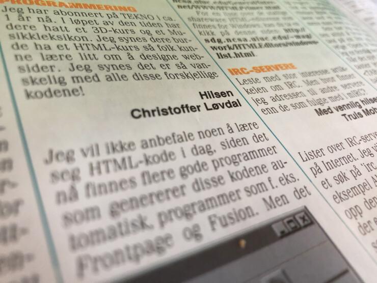 Blås i å lære deg HTML, var det klare rådet fra Tekno-magasinet i 1998. 📸: Jørgen Jacobsen