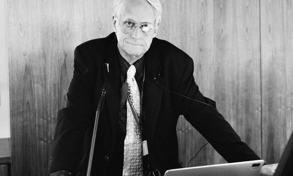 Ted Nelson har holdt utallige forelesninger de siste 50 årene. 📸: Frode Hegland
