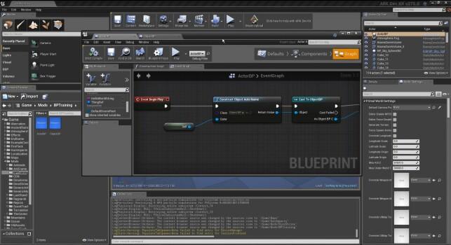 Her ser du et eksempel på jobbing med blueprints i ARK Dev Kit, som stort sett er Unreal-editoren. 📸: Youtube / ZenRowe