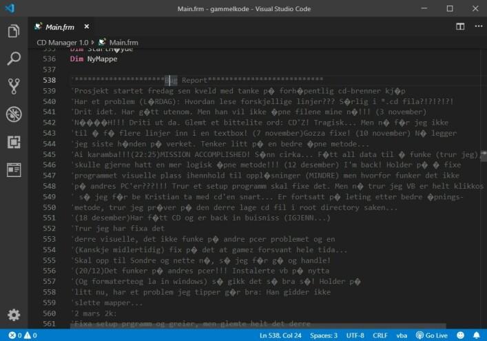 I flere av de gamle Visual Basic-prosjektene mine finner jeg bolker som dette. Det er slags blanding av dagbok, bug-logg, versjonskontroll og blogg i ett, og er tidvis rimelig kleine greier. Denne går fra 1999 til år 2000. 📸: Ole Petter Baugerød Stokke