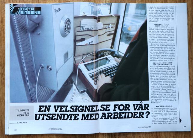 Her kobler man en TRS-80 Modell 100 til telefonkiosken for å sende tekst over telenettet. 📸: Ole Petter Baugerød Stokke / Mikrodata PC