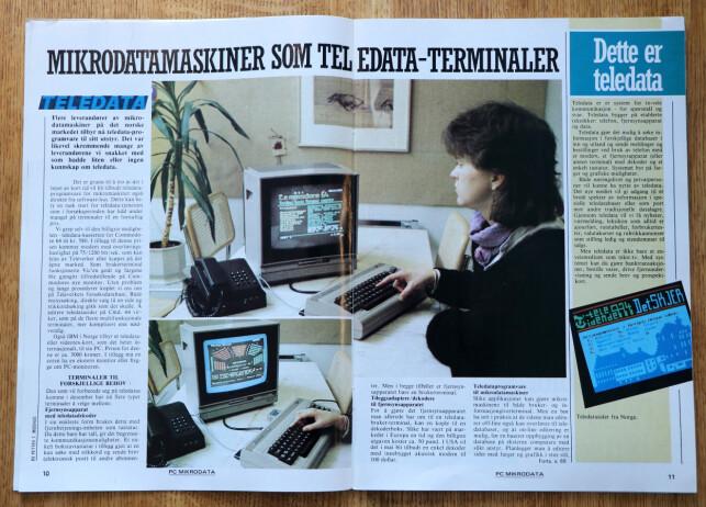 Man kunne koble seg på Teledata via Commodore 64, og få opp noe som ligna mye på, men ikke var det samme som, tekst-TV. 📸: Ole Petter Baugerød Stokke / Mikrodata PC