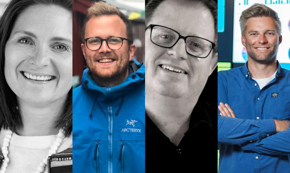 Beate Nesheim i Capgemini, Erik Wendel i Bekk, Simen Sommerfeldt i Bouvet og Nicolai Høge i FINN tror utviklerne sine bruker fritid på fag, men alle hevder at dette ikke er noe arbeidsgiverne krever. 📸: Ole Petter Baugerød Stokke / privat / selskapene