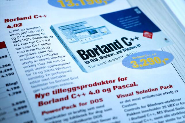 Prisen på Borland C++ tilsvarer i dag 5.500 kroner. Så kunne du til gjengjeld lage programvare for både DOS og Windows, da. 📸: Ole Petter Baugerød Stokke