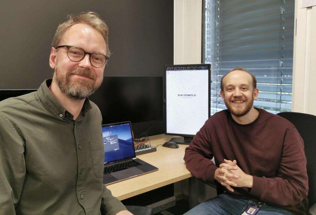 Harald K. Jansson, fagansvarlig for datagrafikk og datavisualisering, og Sjur Seibt, digital historieutvikler, forklarer hvordan de lagde grafikken på NRK.no som oppsummerte årets lokalvalg. 📸: NRK