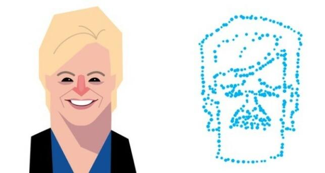 Renate Rognan sin karikatur av Siv Jensen og en prikketegning med samme motiv. 📸: NRK