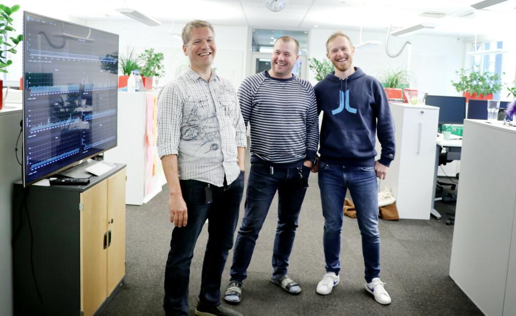 Hils på Sigbjørn Trageton, Tommy Skarateppen og Andreas Thomassen! Trioen er backend-utviklere i Yr. 📸: Pernille Johnsen