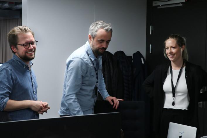 Leder Anton Nytorp, utviklingssjef Adam Bell-Hanssen og prosjektleder for analyse Birgitte Refsland Larsen. 📸: Jørgen Jacobsen