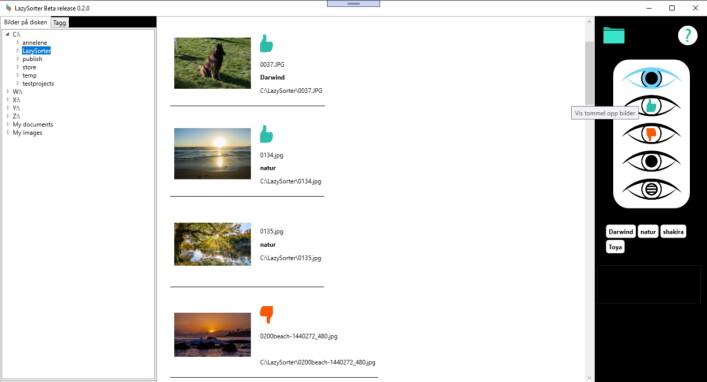 Utlisting av bilder i LazySorter. 📸: Privat