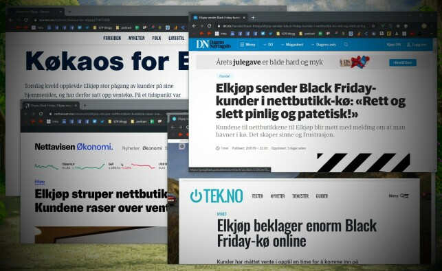 Praktisk talt alle norske nettaviser meldte om køen til Elkjøp under årets black friday. 📸: Ole Petter Baugerød Stokke