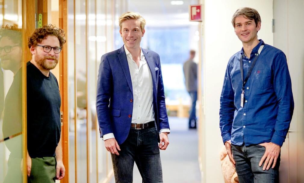Utvikleren Torjus Eidet, CDO Christoffer Hernæs og utvikleren Tobias Rusås-Olsen forteller om teknologivalgene Sbanken tok i 2019. 📸: Sbanken