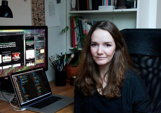 - Jeg ser på koding som en viktig del av designprosessen, og vet at jeg ikke ville gjort en like god jobb som webdesigner om jeg ikke forstod meg på koden som ligger bak, sier Elise Jakobsen i Jakobsen Frukt & Grønt. 📸: Privat